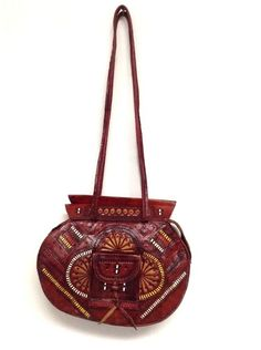 Moroccan Tribal Embossed Tooled Leather & Woven Color by VENEXILE