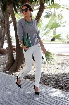 Heels-White-Jeans-And-Sweater-Outfit