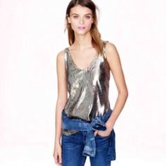 NWOT J Crew Gold Foil Top Never worn, new condition! J. Crew Tops Tank Tops