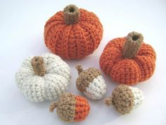 Crochet Pumpkin Acorn Squash Thanksgiving Fall Decoration Bowl Filler Rustic Country Set of 6 on Etsy, $18.00