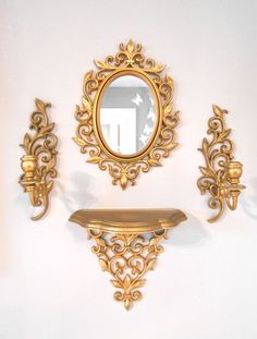 4 Piece Vintage Gold Ornate Wall Hanging by vintagefrombutterfly, $30.00