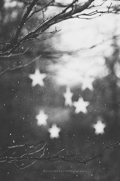 bokeh style winter stars