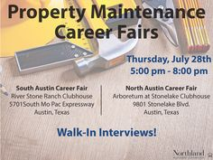 Looking for a career in property maintenance with a national leader in property management and development?  Don't Miss The Northland Investment Corporation Property Maintenance Career Fairs next Thursday, July 28th.  #Austinjobs #apartments #Austin