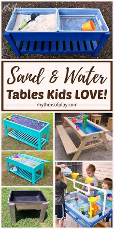 DIY Sand  Water Tables! Keep the kids busy at home in the backyard or on the patio with a sand and or water table. Every backyard should have at least one outdoor sensory play activity area for kids. A sand and water table is a great space for kids to have fun while staying cool learning outdoors. |