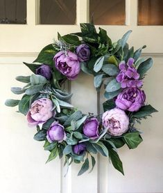 Diy Spring Wreath, Spring Door Wreaths, Purple Wreath, Floral Wreath, Wreath Ideas, Diy Wreath, Fall Wedding, Wedding Ideas, Decorating Ideas