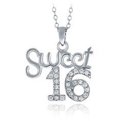 ICZ Stonez Sterling Silver Cubic Zirconia Sweet 16 Necklace ($15) ❤ liked on Polyvore featuring jewelry, necklaces, white, long sterling silver necklace, sterling silver pendant, long necklace, round pendant necklace and cubic zirconia necklaces