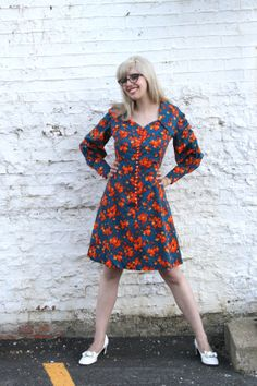 Vintage 1960s 1970s Teal & Orange Floral by MoonRiverMercantile, $65.00