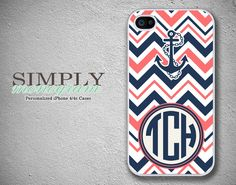 iphone 4 case - plastic or silicone rubber - nautical chevron anchor monogram. $16.99, via Etsy.