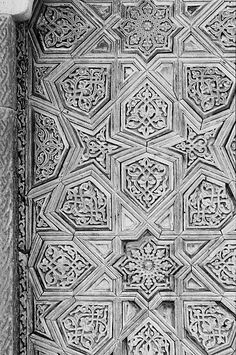 Image TUR 0826 featuring door or doorway from the Mosque of Ala al-Din Kayqubad, in Nigde, Turkey, showing Geometric Pattern and Floriated Arabesque using carved, inlaid or painted woodwork.