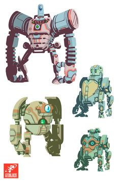 Gorgeous colors on these concept 'bots from Atomic Jack Games!