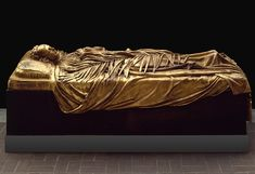 Frank Duveneck (American, 1848–1919). Tomb Effigy of Elizabeth Boott Duveneck, 1891; this cast, 1927. The Metropolitan Museum of Art, New York, Rogers Fund, 1927 (27.64)   The figure reclines peacefully, with her arms folded over her chest, in striking contrast to the active, sweeping folds of the drapery. The palm branch stretching along her body symbolizes Christian victory over death and suggests that her sleep is not temporary but eternal. #MetViewpoints