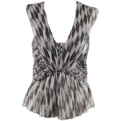 Preowned Isabel Marant Black & White Silk Chiffon Moody Top Sleeveless... ($280) ❤ liked on Polyvore featuring tops, white, sleeveless tank, black white top, white tank top, sleeveless tank tops and summer tops