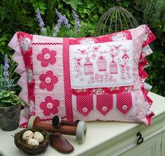 """""""Briar Birds"""" by Sally Giblin of The Rivendale Collection. Finished cushion size: 15½"""" x 22½"""" #TheRivendaleCollection stitchery, appliqué and patchwork patterns.  www.therivendalecollection.com.au"""