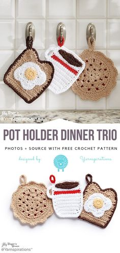 Fun Crochet For Kitchen Free Patterns Fun Crochet For Kitchen Free Patterns,DIY Weihnachtsgeschenke Pot Holder Dinner Trio Free Crochet Pattern projects knitting bags for beginners videos Crochet Amigurumi, Crochet Food, Crochet Kitchen, Cute Crochet, Crochet Yarn, Crochet Owls, Crochet Cupcake, Chrochet, Yarn Projects