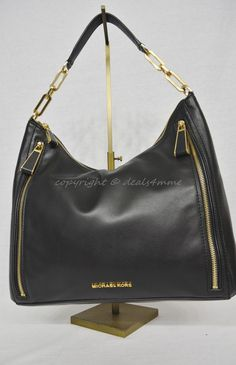 aa3810b5b600 MICHAEL Michael Kors Matilda Black Smooth Large Leather Shoulder Bag   Hobo   MichaelMichaelKors