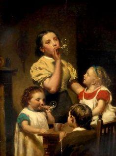 Blowing Bubbles -- Hugh Collins (1834 - 1896, English)