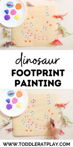 Super quick and easy-to-prepare activity for kids using toy dinosaurs!  #dinoactivity #paintingwithdinosaurs #toddleractivity Dinosaur Activities, Dinosaur Crafts, Preschool Activities, Craft Projects For Kids, Fun Crafts For Kids, Diy For Kids, Kid Crafts, Painting Activities, Art Therapy Activities