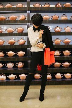 Choies coat - black Zara boots - Mango jeans - Choies shirt - Parfois bag