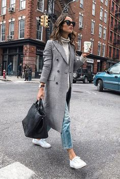 15 Trending Fall Styles To Get Inspired rutaenroute wearing a grey plaid longline blazer a light grey turtleneck crop jeans white sneakers black cat eye sunglasses and a. Fall Fashion Trends, Fall Trends, Autumn Fashion, Fashion 2018, Fashion Week, Fashion Fashion, Womens Fashion, Fashion Black, Fashion Dresses
