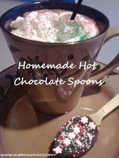 Homemade hot chocolate spoon.
