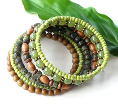 Beaded bracelet stack - lime green brown stacking bangles - natural wood and glass beads