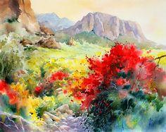 Chuparosa-at-Lost-Dutchman-Watercolor–Fredrix-watercolor-canvas-16x20.jpg (800×634)