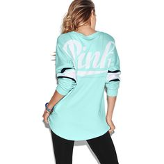 PINK Varsity Crew featuring polyvore, fashion, clothing, tops, blue, blue top, crew top, victoria secret pink tops, mesh top and oversized tops
