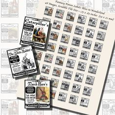 Images,Digital,Stickers,Collage,Illustration,scrabble tile,rectangle,potions,characters,fantasy,lewis carroll,alice in wonderland