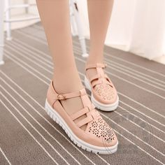 31.55$  Buy here - http://aizio.worlditems.win/all/product.php?id=32782714159 - Funky Large Size Vintage Shoes Roman Pu Solid Plain Woman Shoes Soft Leather Womens Shoes Flats Pink Exquisite