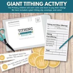 """Giant Tithing Activity - Primary Sharing Time (June - Great teachings ideas, activities, and more! """"When I pay my tithing, Heavenly Father Blesses Me"""" Father's Day Activities, Primary Activities, Church Activities, Fhe Lessons, Primary Lessons, Lds Primary, Activity Day Girls, Activity Days, Notes To Parents"""