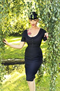 Glamour Bunny - Glamour Bunny - 40s Pan Dress black