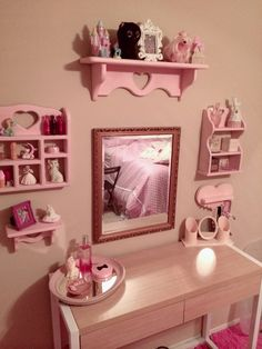 Re-purposes shelf painted pink and glitter. Lolita Room, Kawaii room, Polly pocket, Avon, my little pony, kitsch room, fairy kei room