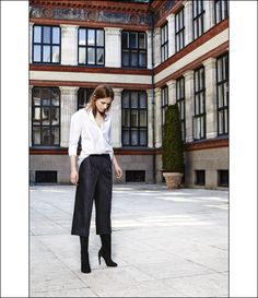 white button down shirt, black culottes & mid calf suede boots #style #fashion #classic #workstyle