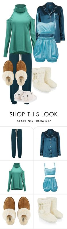 """""""Sloth"""" by kittyjune18 ❤ liked on Polyvore featuring Eberjey, Harrods, Roses Are Red, UGG and Accessorize"""