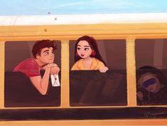Heart eyes on the bus ride 💕 Lara Jean, Fanart, I Still Love You, Katniss Everdeen, Movies Showing, Cute Wallpapers, Good Movies, Hermione Granger, Illustration Art
