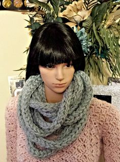Crochet Infinity Scarf Pattern, Crochet Patterns, Chunky Infinity Scarves, I Cord, Crocheting, Shop, Etsy, Fashion, Crochet Hooks