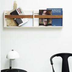 Magazine rack by SkabRum. Leather & birch plywood