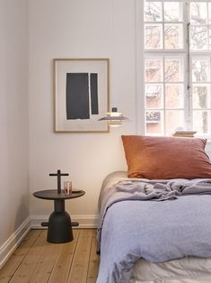The PH 5 Mini Pendant by Louis Poulsen has been introduced in an innovative new color palette, melding iconic design with the requisites of contemporary living. Home Bedroom, Bedroom Decor, Scandi Living, Blue Grey Walls, Minimal Bedroom, Carpet Decor, Kartell, Unique Lamps, Style Vintage