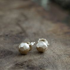 recycled 14k gold pebble studs - rough rock