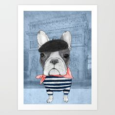 French Bulldog in Paris in front of Arc de Triomphe.<br/> Traditional art.<br/> <br/> <br/> <br/> <br/> <br/> <br/> <br/> Frenchie,illustration,barruf,cedric duarri...