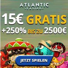 Heute haben Sie die Möglichkeit wiedermal 15 € gratis Bonus bei uns abzustauben. Im Atlantic Casino haben wir das Exklusiv das für ausgehandelt. Dazu kommt gleich noch ein Mega Bonus von 250 % und das können Sie sogar