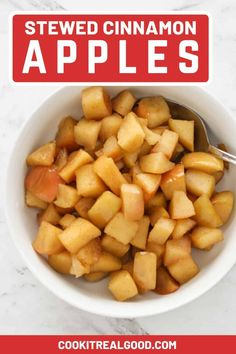 Stewed Cinnamon Apples made with just three ingredients are great for breakfast or dessert. Serve them warm or cold on top of oats, yoghurt, ice cream or custard. Make a big batch and keep in the fridge or freezer to use throughout the week. #stewedapples #cinnamonapples