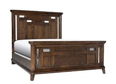 Distinctive lines with a nod to mission style—the Acorn Hill king bed blends classic craftsman elements with more traditional details. Reeding on the headboard and footboard, chamfered edges and clipped corners add further refinement. The robust character of oak veneers makes this bed hard to resist.