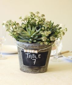 metal bucket of succulents and blackboard paint table numbers