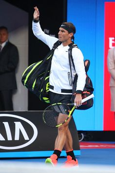 Rafael Nadal Photos Photos - Rafael Nadal of Spain walks out ahead of his semi final match against Grigor Dimitrov of Bulgaria on day 12 of the 2017 Australian Open at Melbourne Park on January 27, 2017 in Melbourne, Australia. - 2017 Australian Open - Day 12
