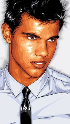 Personal art I did of Taylor Lautner from his first GQ photoshoot. I never knew who he was and I still haven't seen a Twilight movie. I did this to practice a clean, modern look/style. I love fashion photos with shadow halos from soft flashes and walls. Portrait Vector, Digital Portrait, Portrait Art, Portraits, Digital Art, Pop Art, Rainbow Art, Arte Pop, Portrait Illustration