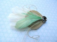 BREE Mint Green and Ivory Peacock Mini Feather Hair by Lucyohlucy