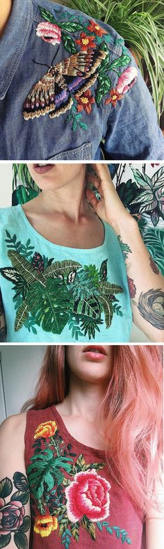 Embroidered clothing by Sam Eldridge // upcycled clothing // DIY embroidery ideas