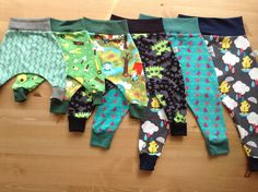 Harem pants fit over cloth diapers/nappies really well. Made by a fellow seamstress in UK