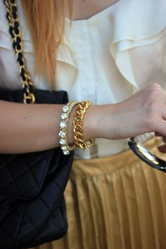 Love Rocks rhinestone Friendship Bracelet - 24k gold plated. $28.00, via Etsy.  {Want in Earth Brown}